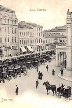 Bucuresti , Piata Teatrului , 1908 Old Pictures, Old Photos, Capital Of Romania, Little Paris, Bucharest Romania, Fade To Black, Back In Time, Old City, Eastern Europe