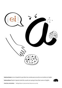 INSTRUCTIONS: Read in Spanish what the vowels are saying to know how their name sounds in English. Free ESL printables by Rodrigo Macias. Spanish Flashcards, Funny Illustration, Illustrations, Spanish Alphabet, Spanish English, How To Speak Spanish, Teaching English, Esl, Decir No