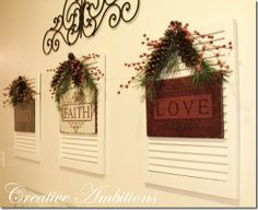 Love this display, wood signs on shutters