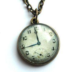 Vintage Clock Necklace - Folksy