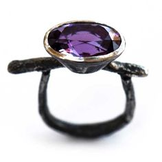 Disa Allsopp Jewellery     Oxidised silver ring with oval amethyst
