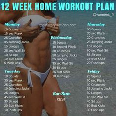 If you want to lose weight, gain muscle or get fit check out our men's and women's workout plans for you, Here are mini-challenges or workouts that can be done at home no equipment needed. 12 Week No-gym Home Workout Plans Workout plans instructions: Repeat this circuit 2 times for beginner 5 times for advanced … #FitnessWorkoutPlansTips