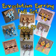Eeveelution Faux Fauge Clinging Earrings by AlexsMisfitToys Cheap Jewelry, Jewelry Ideas, Diy Jewelry, Fake Gauge Earrings, Fake Gauges, Full Set, Wholesale Jewelry, Cool Stuff, Stuff To Buy