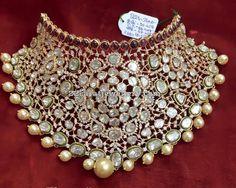 Pachi Work Heavy Kundan Choker - Jewellery Designs