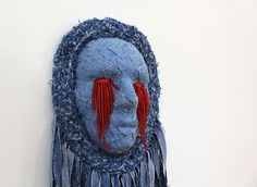 Lyn Balzer and Tony Perkins, 'Mask' (detail)   Recycled Denim, Papier Mache, Kid Leather, Silver-lined Czech Glass Beads, Silk Thread.