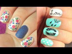 uñas decoradas con esmalte - YouTube