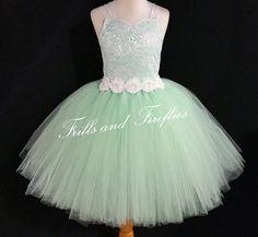 Mint Green w/ White Lace Corset Flower Girl by FrillsandFireflies