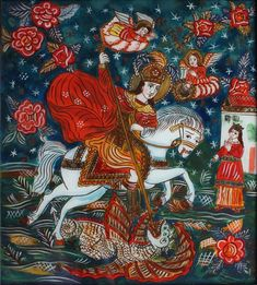 George with the dragon and the princess Romanian folk reverse icon glass… Saint George And The Dragon, Saint Georges, Les Themes, Handmade Frames, Orthodox Icons, Dark Colors, Flower Decorations, Prince, Flower Art