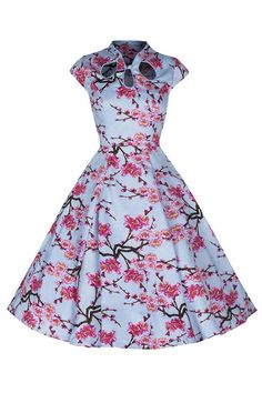 Sky Blue and Pink Floral Print 50s Swing Dress