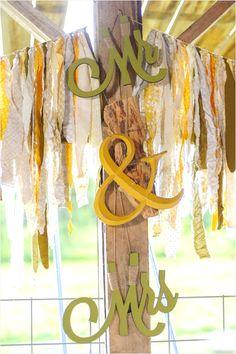 crafty and clever Mr. & Mrs. wedding sign #diywedding #yellow  http://www.weddingchicks.com/2013/12/10/green-and-yellow-wedding-2/