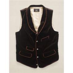 RRL Black Velvet Shawl-Collar Vest for men Velvet Shawl, Black Velvet, Vest, Jackets, Stuff To Buy, Clothes, Dresses, Image, Fashion