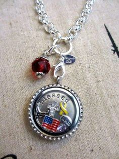 Military Support our troops Origami Owl Locket. Design your own at www.donnareed.OrigamiOwl.com