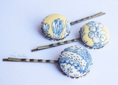 button bobby pin French toile hair clips Fabric by chezviolette