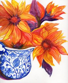 Sunflowers watercolors paintings original. flowers in blue and white vase, floral wall art, Orange and Red. original watercolors painting by SharonFosterArt on Etsy