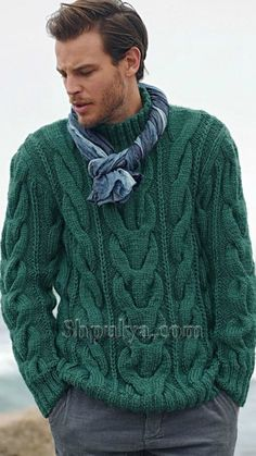 Tricot un pull homme - Knitting 01 Hand Knitted Sweaters, Knitted Poncho, Poncho With Sleeves, Handgestrickte Pullover, Aran Knitting Patterns, 2014 Fashion Trends, Ideias Fashion, Knitwear, Men Sweater