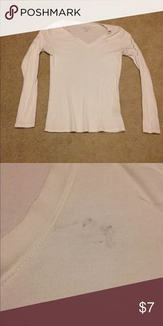 Woman's Merona XS Basic White Long sleeve Shirt In ok condition. It does have a small black smudge on the left side by the collar Merona Tops Tees - Long Sleeve