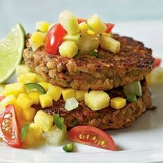 Lentil-Barley Burgers with Fiery Fruit Salsa.