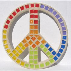 Rainbow Colors Peace Sign Wall Art Mosaic Boho Hippie Funky Dorm Room... ($32) ❤ liked on Polyvore featuring home, home decor, wall art, mosaic stained glass, mosaic wall art, mosaic home decor, peace sign and rainbow peace sign