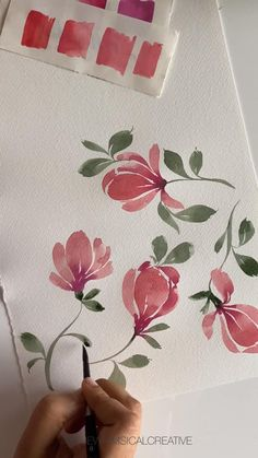Watercolor Paintings For Beginners, Watercolor Art Lessons, Canvas Painting Tutorials, Watercolor Flowers Tutorial, Floral Watercolor, Easy Canvas Art, Magnolia Leaves, Flower Art, Black Flowers
