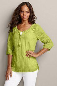 ¾-Sleeve Burnout Pullover Shirt