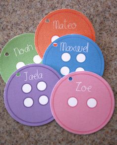 Lalaloopsy Button name tags to go on treat bags.these go great with the cute as a button favors