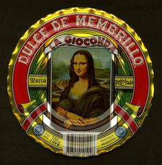 """""""Mona Lisa Images for a Modern World (or a Giocondaphiliac's Delight"""") -- Click through for a rather wonderful site (complete with Teacher's Guide!) dedicated to """"Monalisiana,"""" with images and text categorized (e.g., ML as personal symbol, ML wrapped in a mantle of fable) and analyzed in context. A scholarly approach to not-necessarily-scholarly material. Shown: Lid from can of quince jelly from Argentina. (Category: """"Mona Lisa Kitsch as Symbolic form."""")"""