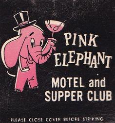 Pink Elephant matchbook
