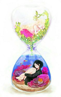 anime girls in hourglass Beautiful Anime Girl, I Love Anime, Chibi Neko, Manga Art, Anime Art, Anime Style, Kawaii Anime, Amazing Art, Awesome
