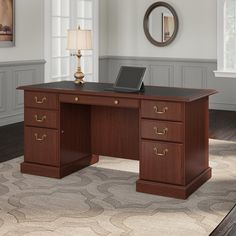 Bush Furniture Wc65566 03k Bennington Collection Manager S Desk In Harvest See More From Cowdray Executive