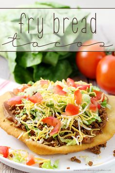 Change up your boring dinner routine with this easy recipe for Fry Bread Tacos (aka Navajo Tacos). A quick and simple bread dough is quickly fried and then topped with your favorite taco toppings! added 1 tsp sugar to the dough. Mexican Dishes, Mexican Food Recipes, Beef Recipes, Dinner Recipes, Cooking Recipes, Recipies, Ark Recipes, Hamburger Recipes, Turkey Recipes