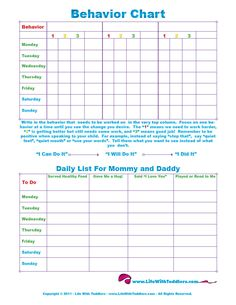 Free Printable Toddler Behavior Chart for 1, 2, 3, 4 and 5 year olds