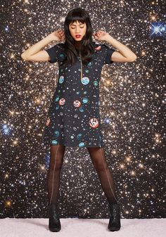 Planetarium Parade Babydoll Dress. You're never too old to enjoy a museum trip, especially with this dark grey babydoll dress to inspire your frolic! #black #modcloth