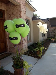face masks on the green balloons in blue, purple, red, and orange  Teenage Mutant Ninja Turtles party.