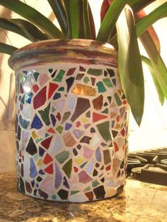 Mosaic Lipped Cylinder Pot / Planter  ELORA  by totallylegalpot, $149.95