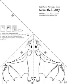 "Bat paper airplane from ""Bats at the Library"" by Brian Lies"
