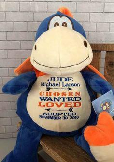 e610e087692 Adoption Gift for Boy. Forever Family Gift. Christmas Gift. Personalized  Dragon Stuffed Animal