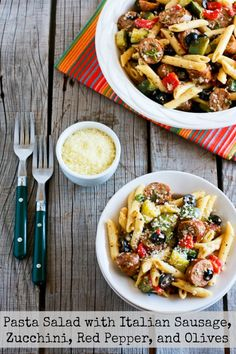 Kalyn's Kitchen®: Pasta Salad Recipe with Italian Sausage, Zucchini, Red Pepper, and Olives (Family Favorite)