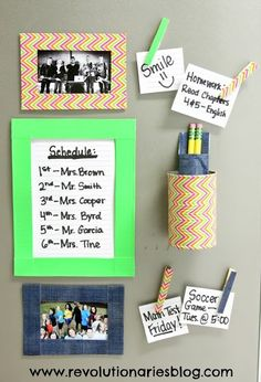 Decorate office supplies with NFL Duck tape for Father's day?  Magnet board ideas.