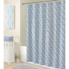 Bath Bliss PEVA Greek Key Design Shower Curtain