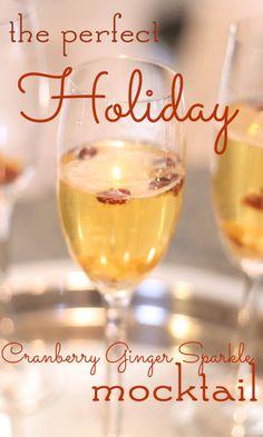 Festive Holiday Cocktail Cranberry Ginger Mocktail