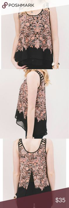 DEX baroque floral top Doubled layered tiered tank with a flowy fly away peek a boo back. Straps feature lattice cut out detail. Hi low design. Brand new condition with original manufacturer's tags attached. dex Tops Blouses