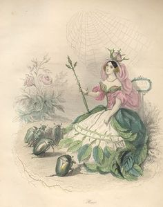 """""""Rose"""" by J. J. Grandville from """"Les Fleurs Animées,""""Paris: Garnier Freres, [1867]. Prints illustrating flowers personified in the form of lovely maidens. Each 19th-century female figure is richly costumed in the leaves, blossoms and garlands that designate her flower. An example of early 19th-century Victorian fascination with an animated and psychologically fertile natural world, the world made familiar by Lewis Carroll's Alice in Wonderland."""