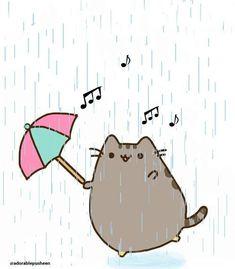 Pusheen dancing in the rain on We Heart It Gato Pusheen, Pusheen Love, Cat Wallpaper, Kawaii Wallpaper, Cute Drawlings, Cute Kawaii Drawings, Kawaii Cat, Line Friends, Dancing In The Rain