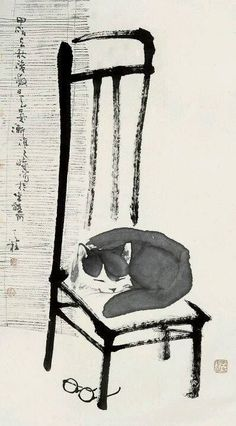 A cat sleeping on a chair, un sumi-e painting