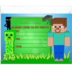 20 x Inspired by Video Games Minecraft Invitations