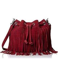 Rebecca Minkoff Fringe Mini Fiona Bucket Cross Body Bag, Port, One Size ❤ Rebecca Minkoff Handbags