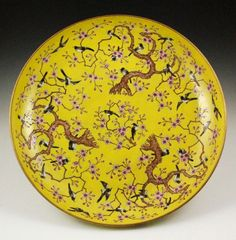 Chinese Large and Rare Yellow Porcelain Charger : Lot 7083