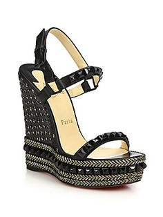 Christian Louboutin Cataclou Studded & Braid-Trimmed Wedge Sandals