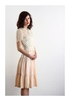 Vintage Pink Slip . Taffeta Skirt . Tea Length . Mid by VeraVague