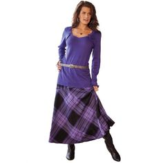 Roamans Women's Plus Size Fit And Flare Plaid Maxi From Denim 24/7